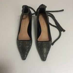 Zara Rhinestone Wrap Around Ankle Heels Sz 39 US 8